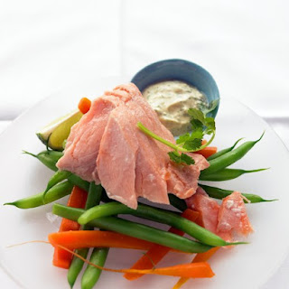 Poached Salmon with Curried Yogurt Sauce.