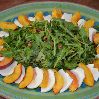 Arugula Salad with Roasted Peaches, Pistachios and Mozzarella.