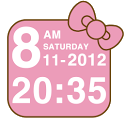 Pink Kitty bow Clock Widget icon
