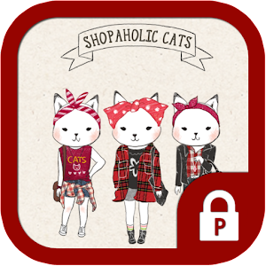 Shopper Holic cats(red check)