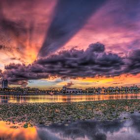 Lake Mirror by Chris Thomas - Landscapes Sunsets & Sunrises ( mirror, orange, fisheye, sunset, florida, lake, lens, boardwalk, lakeland )