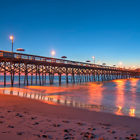 Dawn at the Pier by Cathie Crow - Buildings & Architecture Bridges & Suspended Structures ( dawn, piers, nature, hdr, ocean, sunrise, sunrise photography, hdr photography, garden city )