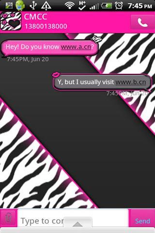 GO SMS THEME PinkZebra1