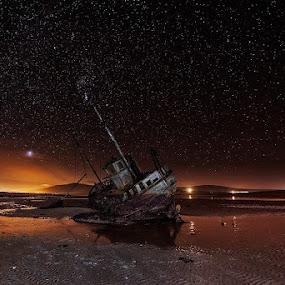 Wreck by Grzegorz Kaczmarek - Landscapes Travel ( greg77, ireland, stars, wreck, night )