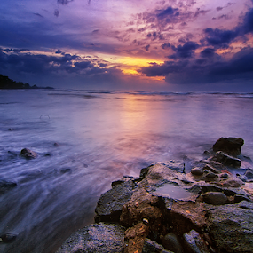 Calm Down a Little by Kadek Jaya - Landscapes Waterscapes ( sky, sunset, slow, beach, rocks )