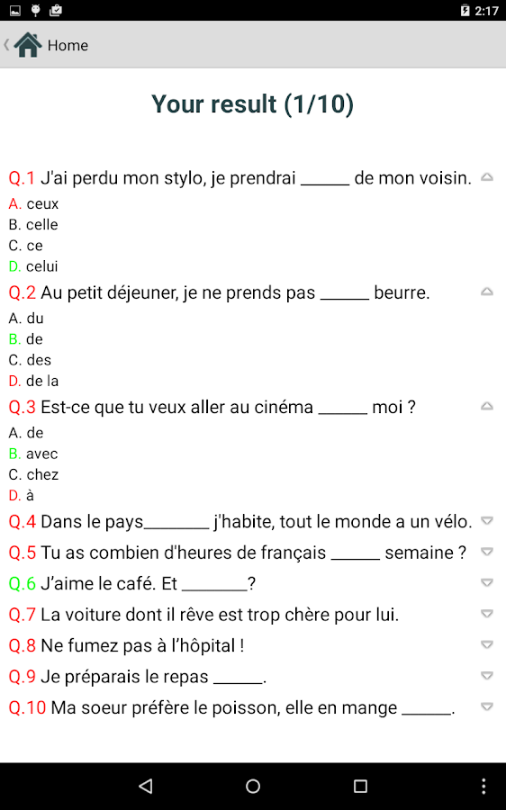 French Test- screenshot
