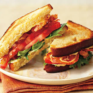 Pancetta, Mizuna, and Tomato Sandwiches with Green Garlic Aïoli.