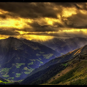 crepuscular rays by Petr Klingr - Landscapes Sunsets & Sunrises ( clouds, crepuscular, hdr, sunset, ray of light, alps,  )
