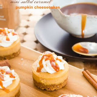 Mini Salted Caramel Pumpkin Cheesecakes.