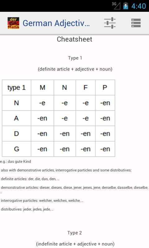 German Adjective Declension: captura de pantalla