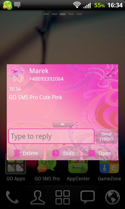 GO SMS Pro Cute Pink - screenshot