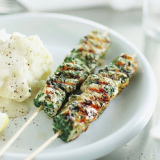 Herbed Fish Skewers With Smashed Potatoes And Skordalia.