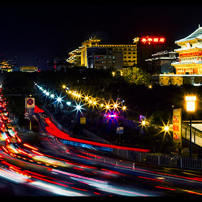 Xian by Night by Aditya Kristanto - Buildings & Architecture Public & Historical ( lights, light trail, building, xian, night, architecture, china )