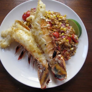 Grilled Lobster Tails with Warm Farro, Roasted Corn and Tomato Salad