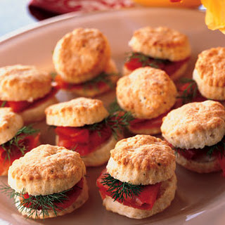 Goat Cheese and Black Pepper Biscuits with Smoked Salmon and Dill.