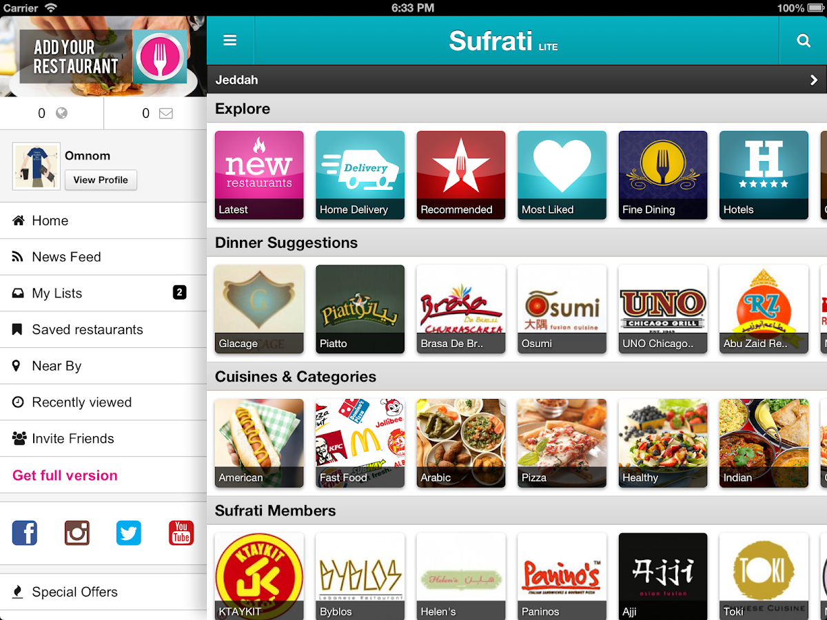 Sufrati Lite Restaurant Guide - screenshot