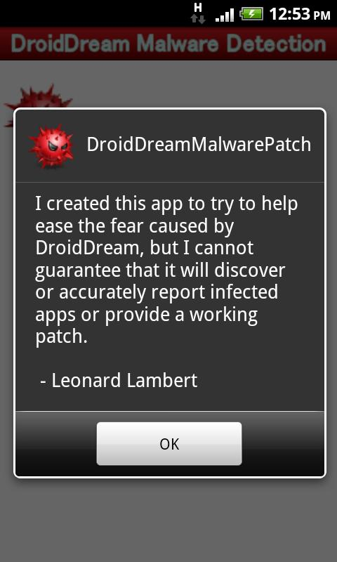 DroidDream Malware Patch - screenshot
