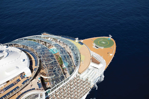 Oasis-of-the-Seas-Aerial-2 - Oasis of the Seas has a massive sports deck area featuring two Surfriders for a surf experience, a rock climbing wall and basketball and golf areas.