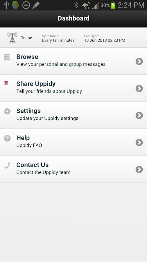 Uppidy saves all text messages - screenshot
