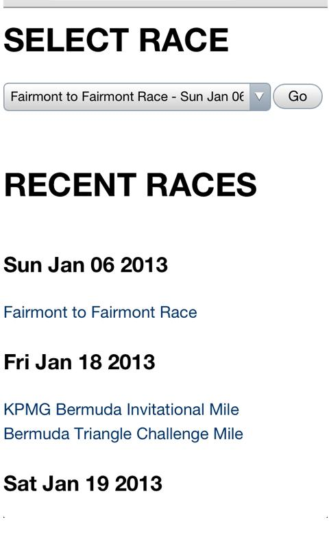 Bermuda Race Results- screenshot