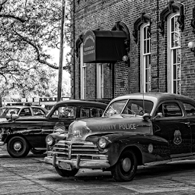 old police cars by Lennie L. - Black & White Objects & Still Life (  )