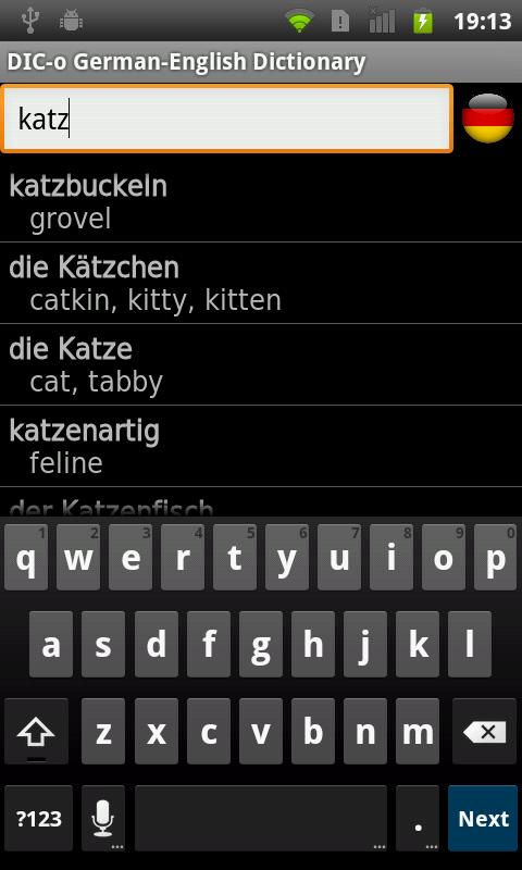 German - English offline dict.- screenshot