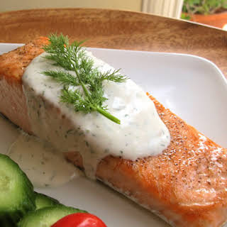 Seared Salmon with Creamy Dill Sauce.