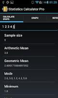 Screenshot of Statistics Calculator Pro