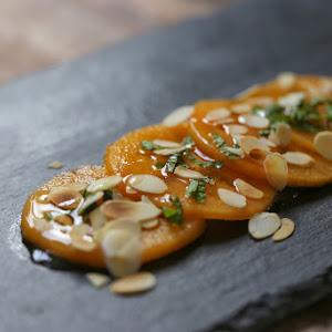 Persimmon Carpaccio with Mint and Orange Blossom