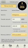 Screenshot of Western Union Money Transfer