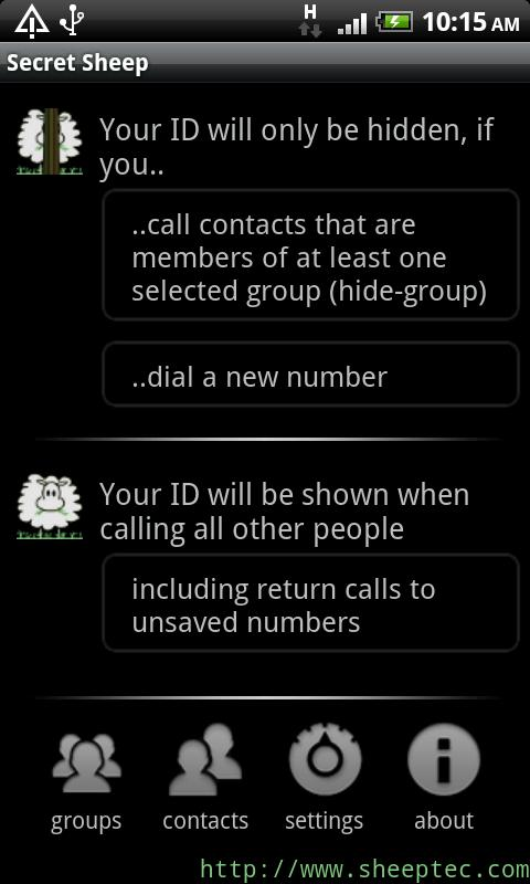 SecretSheep - hide caller ID - screenshot