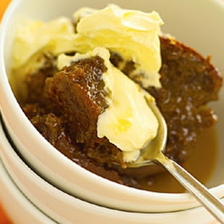 Sticky Toffee Pudding With Toffee Sauce.