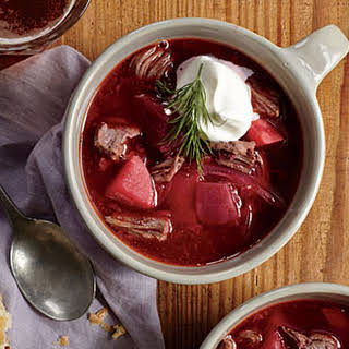 Beefy Pressure Cooker Borscht with Dill Cream.
