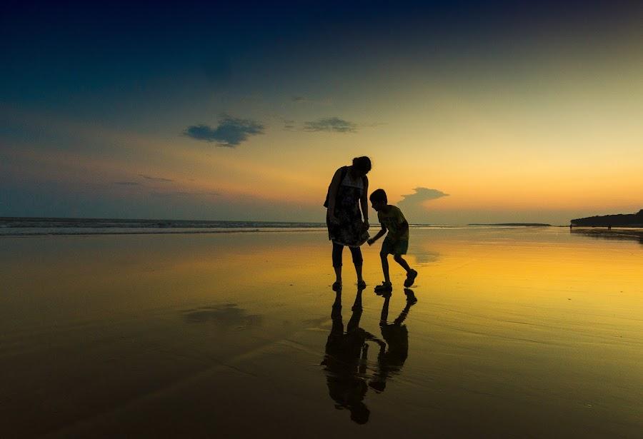 On the beach by Jayanta Basu - People Street & Candids ( sunset, silhouette, digha, india, seascape, beach, , golden hour, sunrise, #GARYFONGDRAMATICLIGHT, #WTFBOBDAVIS )