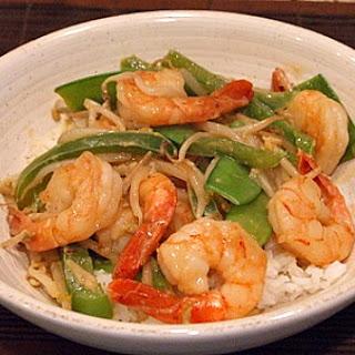 Stir Fried Shrimp and Snow Peas with Coconut- Curry Sauce.