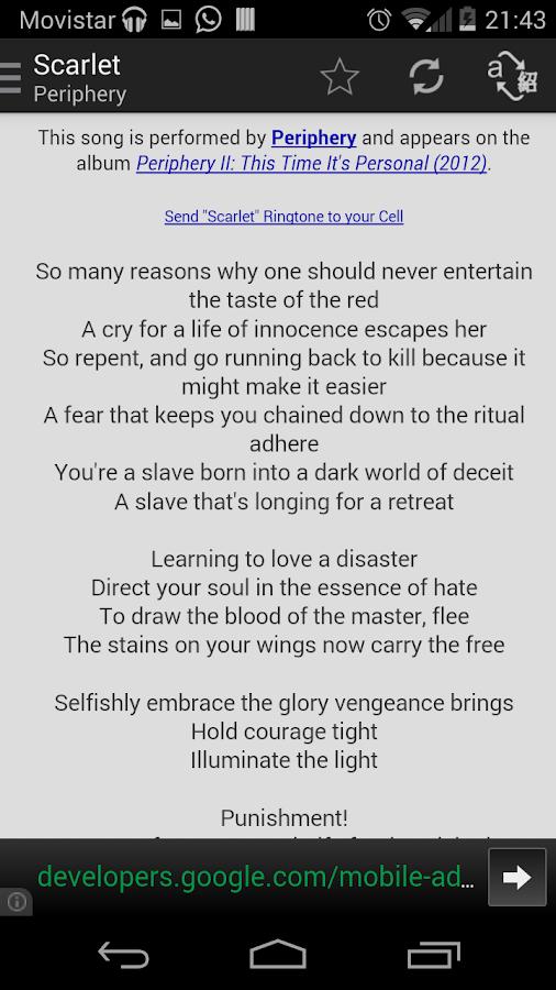 AirLyrics - Lyrics translation- screenshot