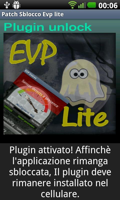 "Plugin unlock ""Evp Lite""- screenshot"