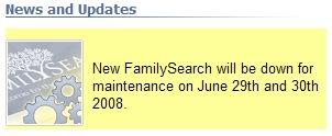 在新的FamilySearch网站上的消息。