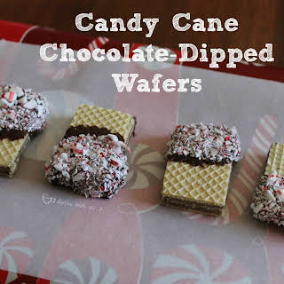 Candy Cane Chocolate-Dipped Wafers.