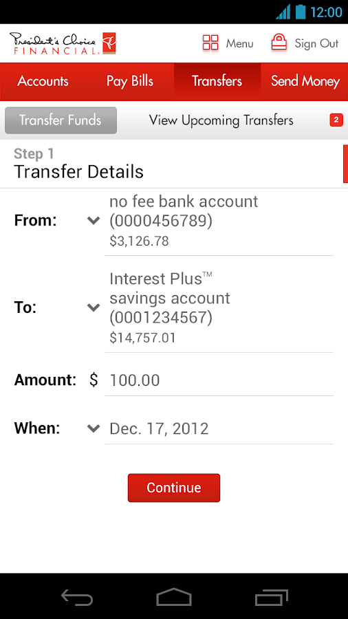 PC Financial Mobile Banking - screenshot