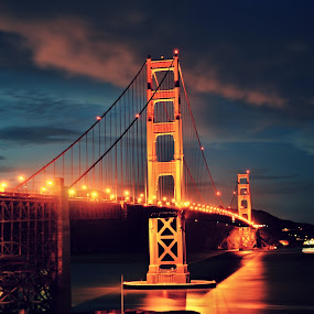 The Golden by Hany Todros - Landscapes Waterscapes ( seascape, bridge, landscape, usa, hanytodros, golden, gate, , city, night )