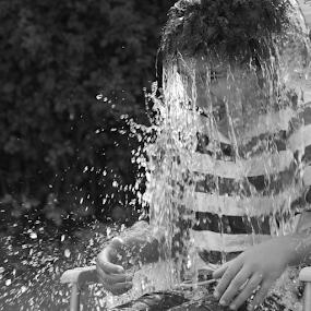 ...those ice cold days of summer! by Joseph Quartson - Babies & Children Children Candids ( water, black and white, wet, boy, ice bucket,  )