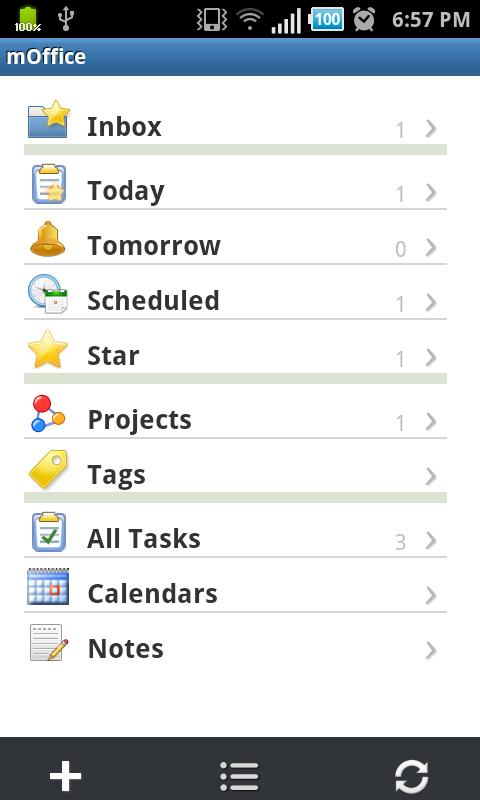 mOffice - Outlook sync - screenshot