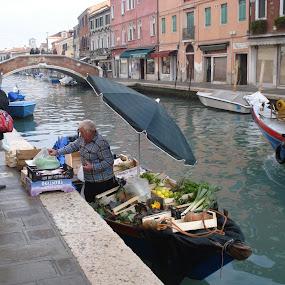 Groceries in Murano (Murano, Italy) by Pipia Kanjeva - City,  Street & Park  Street Scenes ( #murano #italy #canal #boat #street,  )