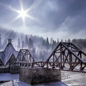 Winter in Transylvania by Florin Ihora - Buildings & Architecture Bridges & Suspended Structures ( pier, romania, lake, frozen, transylvania, sun,  )