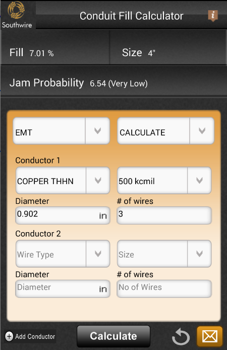 Southwire conduit fill calc android apps on google play southwire conduit fill calc screenshot greentooth Images