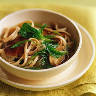 Udon Noodles with Shiitake Mushrooms in Ginger Broth.