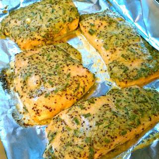 Baked Salmon with Citrus Dijon Mustard Sauce.