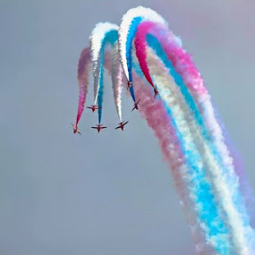 Red arrows, colors in the sky by Catherine Cross - Transportation Airplanes ( flying, red arrows, aeroplanes, sky, colors )