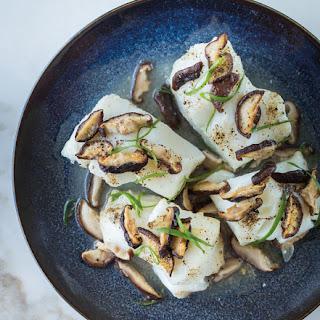 Fish Roasted with Shiitake Mushrooms.